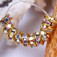 al por mayor crystal rondelle beads-6MM de Cristal AB Color de diamante de imitación de Perlas, Oro enchapado, Rondelle Espaciador de Perlas, Joyas, Accesorios-100PCS