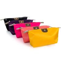 nylon waterproof zipper - Summer new women make up bags colors nylon waterproof handbag cosmetic cases for lady casual dumplings bags with zipper