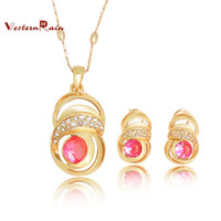 Wholesale WesternRain Hot selling Rose Gold Plated Green amp Pink Rhinestone Pendant Necklace Fashion Women Costume Jewelry