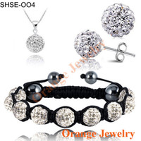 no min order - No Min Order Fashion White Crystal Pendant Bracelet Crystal Earring Jewelry Set MM Disco Ball