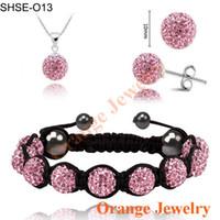 no min order - NO MIN ORDER Fashion Crystal Pendant Bracelet Crystal Earring Jewelry Set MM Disco Balls Mix Colors Options