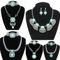 Wholesale Silver plated Blue Turquoise Earrings Necklace Jewelry Sets women Imitation Gemstone Jewelry set Retail nke k53