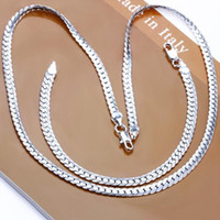 Wholesale FSS085 Fashion Men s Sterling Silver Bracelet Necklace Sterling Silver Men s Jewelry Set