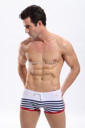 Wholesale-New arrival mens swimwear sexy swimwear men swim trunks men swimwear striped sailor beach carnival