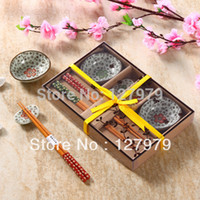 Wholesale Chinese style ceramic cutlery sets Japanese style chopsticks and dishes flatware with gift boxes high end tableware