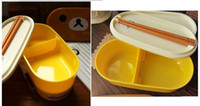 beautiful lunch boxes - sets wholesales colors Yellow brown Relax Bear Lovely Beautiful lunch box Rilakkuma Bento Box with Chopsticks amp belt