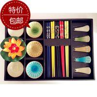 bamboo flatware sets - On sale Creative Japanese tableware ceramic dishes chopsticks sets sushi tableware Chinese wind flatware with gif box