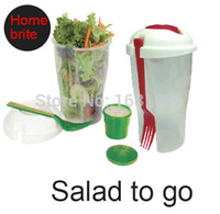 Wholesale Salad To Go Cup ensaladera with fork amp dressing bowl lunch box keeps salads fresh for fruit vegetable salad container tools K025