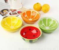 Wholesale Bowl Spoon Set Promotion Newest Novelty Lovely Glaze Ceramic Bowl Watermelon Lemon Rice Bowl Spoon Tableware Set