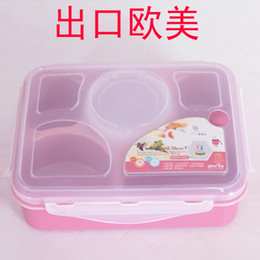 Wholesale Five grid belt soup bowl microwave oven sealed boxes multicellular student lunch box mealbox commuters