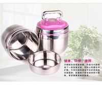 Cheap Wholesale-lunch buckets for students dinnerware sets Stainless steel double layer insulation lunch bowl capacity 1.4L lunch box for kids
