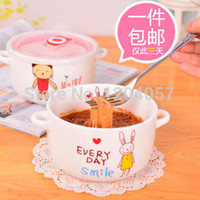 Cheap Wholesale-1 microwave oven instant noodle bowl instant noodles bowl plastic bowl with lid cartoon ceramic instant noodles in cup plastic