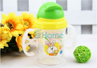 Wholesale Durable Baby Kids Straw Cup Drinking Bottle Sippy Cups With handles Cute Design
