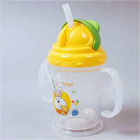 Wholesale Durable Baby Kids Straw Cup Drinking Bottle Sippy Cups With handles Cute Design FFY