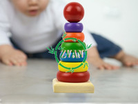 Wholesale Funny Primary Childrens Baby Wooden Educational Stacking Blocks Toy Rainbow