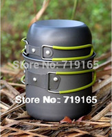 Wholesale freeshipping Stainless Steel Applicable BBQ Outdoor Camping Hiking Cookware Backpacking Cooking Picnic Bowl Pot Pan Set