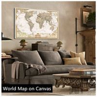 Cheap Wholesale-Hot Sale!! Vintage English World Map Painting On Canvas Wall Art Canvas Prints Painting Pictures Decor For Living Room 70X105cm