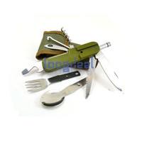 Wholesale Fuctions Light field survival multi function knife tableware Spoon Fork LED Bottle Opener Canvas Bag