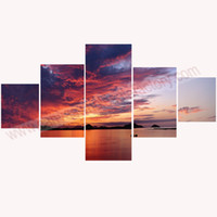 Wholesale-Wall Art Canvas Painting 5 Piece Canvas Art of Seascape Paintings Canvas Prints Unstretched for Modern Living Room Dropshipping