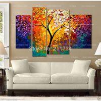 Al por mayor-100% a mano enmarcada estiró la pintura al sol Rama CANVA pintura al óleo abstracta paisaje de la decoración en la lona 4pcs Un Conjunto