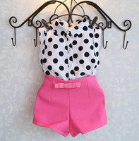 Cheap Wholesale-new summer girls clothing sets girl baby clothes polka dot coat + pink pants baby clothing