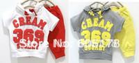 Cheap Wholesale-Baby suit Sport suits nebraka wesleyan 369 children short sleeve shirt pant clothing set in stock