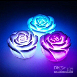 Wholesale 12pcs best LED Colorful Romantic Rose lights Cube Color Change Roses Novelty Light cool okey