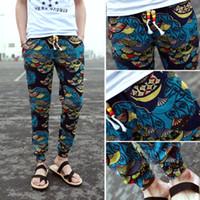 linen pants - new mens floral print pants long pants joggers casual men pants cotton linen trousers pantalones hombres blue