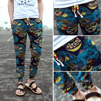 Wholesale new mens floral print pants long pants joggers casual men pants cotton linen trousers pantalones hombres blue