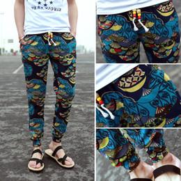 Wholesale- new mens floral print pants long pants joggers casual men pants cotton linen trousers pantalones hombres blue