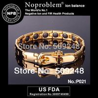 Precio de Venda de la energía del silicón del balance-Al por mayor-P021 oro Turmalina Ion Balance de los hombres de poder deporte terapia de manera de la venda de la joyería de la pulsera de silicona