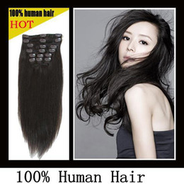 Wholesale Premium Too quot set Clip in hair remy Human Hair Extensions darkest brown mix colors
