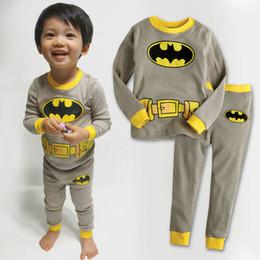 Wholesale sets Children s Long Sleeve Cartoon Superman Batman Pajamas Baby Girl Boys Sleepwear Kids pyjamas clothes sets XC