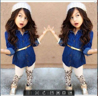 Cheap Wholesale-EMS DHL Free shipping baby girls toddlers 3pc Suit Denim dress Leopard Pants Belt children clothes Cool Girls Suit Casual Wear