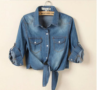 Wholesale S XL new brand sale fashion denim vintage plus size blusas womens tops jeans woman casacos femininos women blouse shirt
