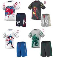 Wholesale Children shampooers jogging tracksuits sport short sleeve T shirt shorts pants kids Boys baby Summer clothes Suit