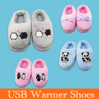 Wholesale Cute Plush shoes USB warmer usb warmer shoes Foot Warmer Shoes Electric Heat Slipper novelty item