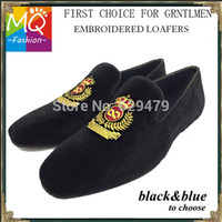 army dress shoes - New Europe Style Men Dress Shoes Men Velvet Loafers Party Shoes Embroidered Velvet Slippers Driving moccasins black MS0001