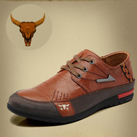 Cheap Wholesale-Top Selling 2015 Casual Shoes For Men Lace-Up Medal Charm Genuine Leather Khaki Brown Boat Shoes Free Shipping Shoe [#Shoe307]