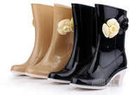 ankle high wellies - Korea Elegant Comfortable Flower Thick High Heels Women Wellies Rain Boot Woman Water Shoes Women Wellies