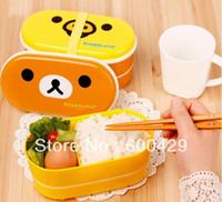 Wholesale Hot Selling Style Relax Bear Bird Heat Preservation Cute Lunch Box Rilakkuma Bento With Chopsticks Freeshipping