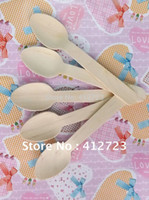 Wholesale Freeshipping Dinner tableware Wood Cutlery Sets mm wooden Spoons ice cream spoons salt spoons wedding party favors