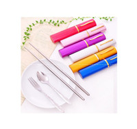bamboo mini forks - Stainless Steel Portable Mini Spoon Fork Chopsticks Set Folding Tableware With Box