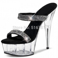 stripper shoes - Women Inch Stripper Shoes High Heeled Shoes Noble Elegant Platform Gladiator Rhinestone All Match Formal Dress Sandals