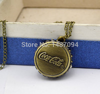 Wholesale Vine Cola Design Pocket watches men women fashion watches necklaces fashion decoration Christmas gift