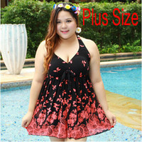 Wholesale Swimsuit Plus Sizes Free Shipping - Wholesale-Women Plus Size One Piece Dress Swimwear Fat Lady Fashion Swimsuit 2376 Free Shipping