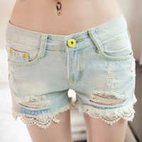 Cheap Wholesale-2015 New Arrival Summer Lace Ripped Denim Shorts Hot Hole Jeans Women Fashion Sexy Destroyed Wash Light Short Jeans Lace Shorts