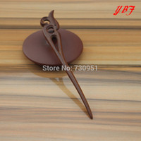 Cheap Wholesale-High Quality Red Sandalwood wooden Hair Pins Wood Boutique carve pattern Hairpins Antistatic styling tools accessories for bride