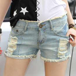 Wholesale-new women shorts cotton denim shorts jeans bermuda feminina high waist shorts plus size women short pants