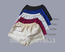 Wholesale-Charmeuse Pure Silk Women French Knickers Boyshorts European and American Style panties M-3XL Navy Blue Fuchsia Black White Pink